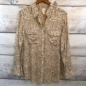 Chico's 2 Key Print Blouse L Viscose Button Down